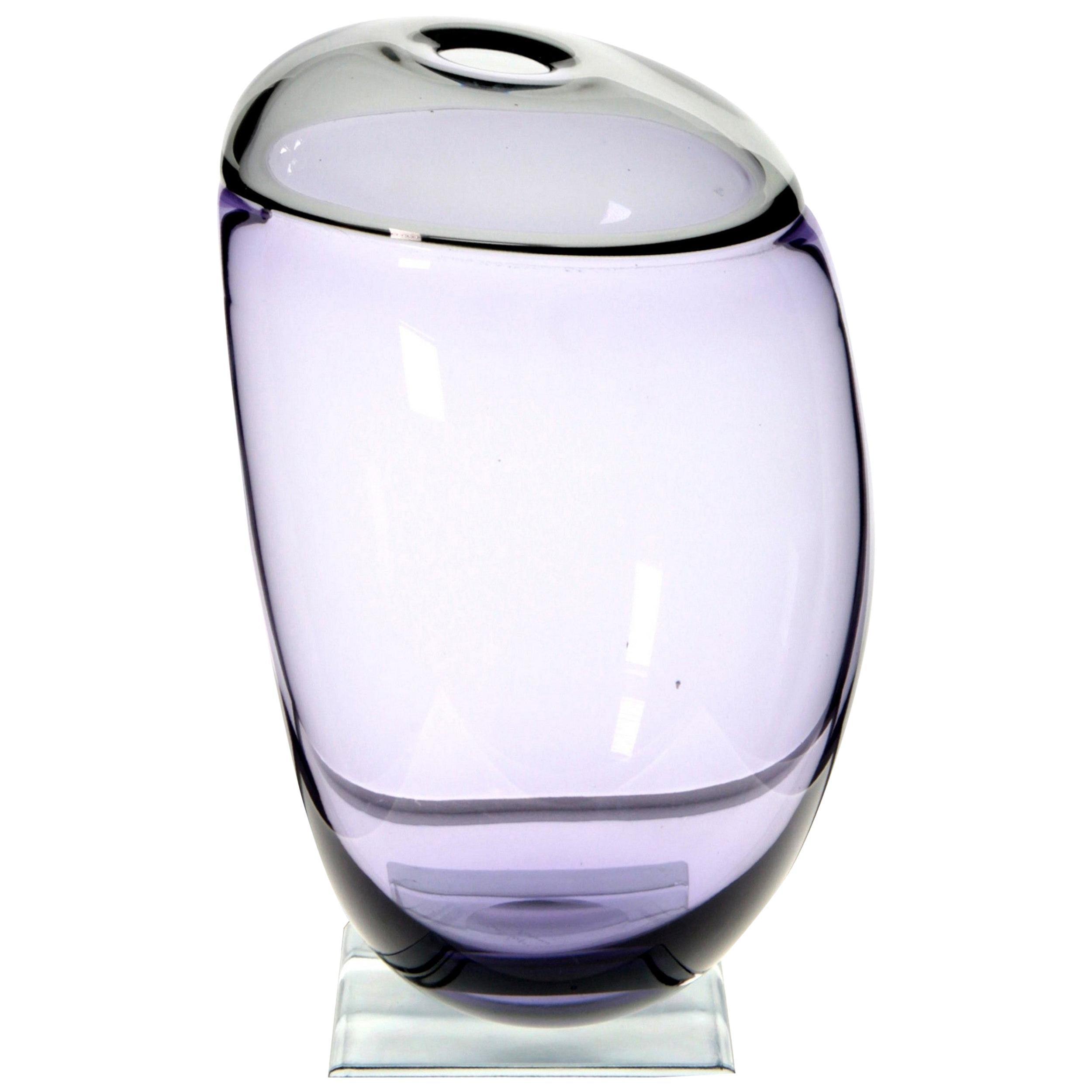 Paolo Crepax Asimmetrico Organic Vase Amethyst Gray Incalmo Murano Glass, Signed