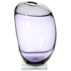Paolo Crepax Asimmetrico Organic Vase Amethyst Gray Incalmo Murano Glass, Signed