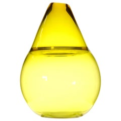Paolo Crepax, Asimmetrico Vase in Bright Yellow Incalmo Murano Glass, Signed
