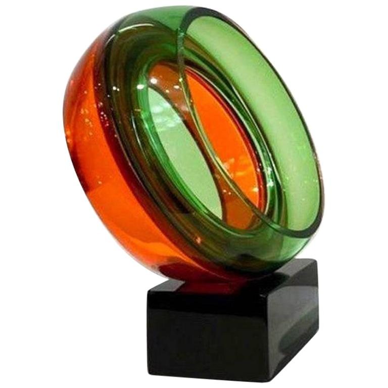 Contemporary organic abstract art sculpture, in blown Murano glass, modern Works of Art by Paolo Crepax, difficult open round pieces to create, realized in two separate colors with the technique incalmo, presenting an inner ring executed with great