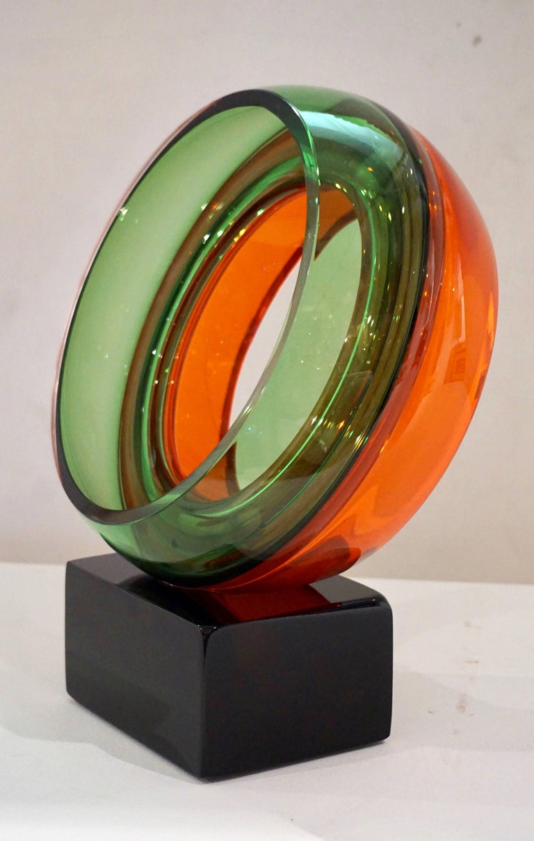 Organic Modern Paolo Crepax Italian Green Orange Red Murano Art Glass Abstract Sculpture For Sale