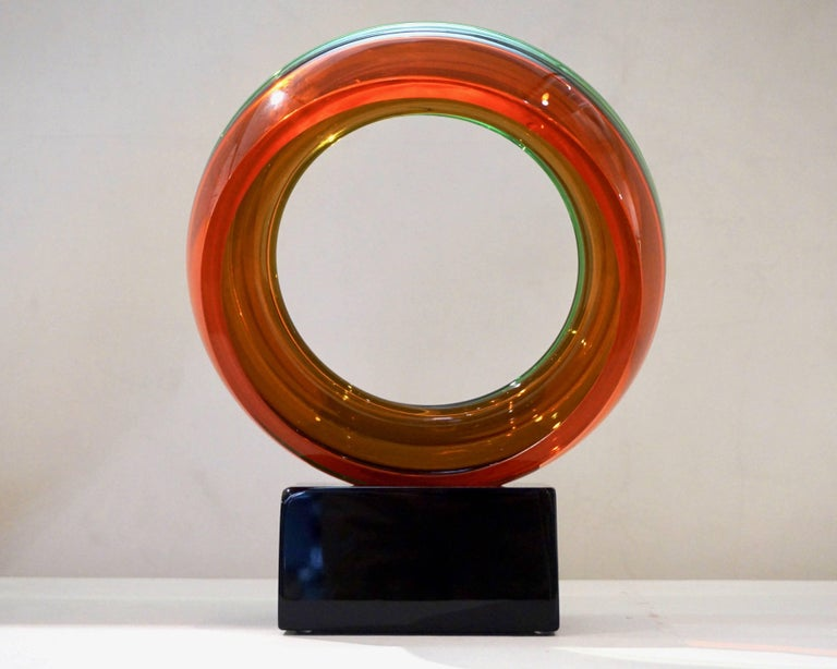 Contemporary Paolo Crepax Italian Green Orange Red Murano Art Glass Abstract Sculpture For Sale