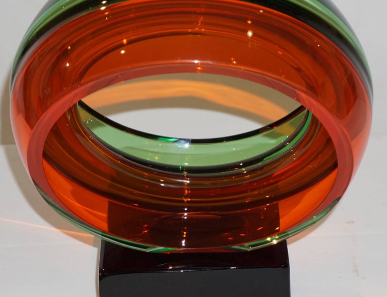 Blown Glass Paolo Crepax Italian Green Orange Red Murano Art Glass Abstract Sculpture For Sale