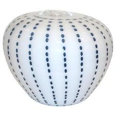 Paolo Crepax Italian White Murano Glass Modern Vase with Aqua Blue Dot Murrine
