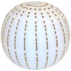 Paolo Crepax Italian White Murano Glass Modern Vase with Orange Dot Murrine