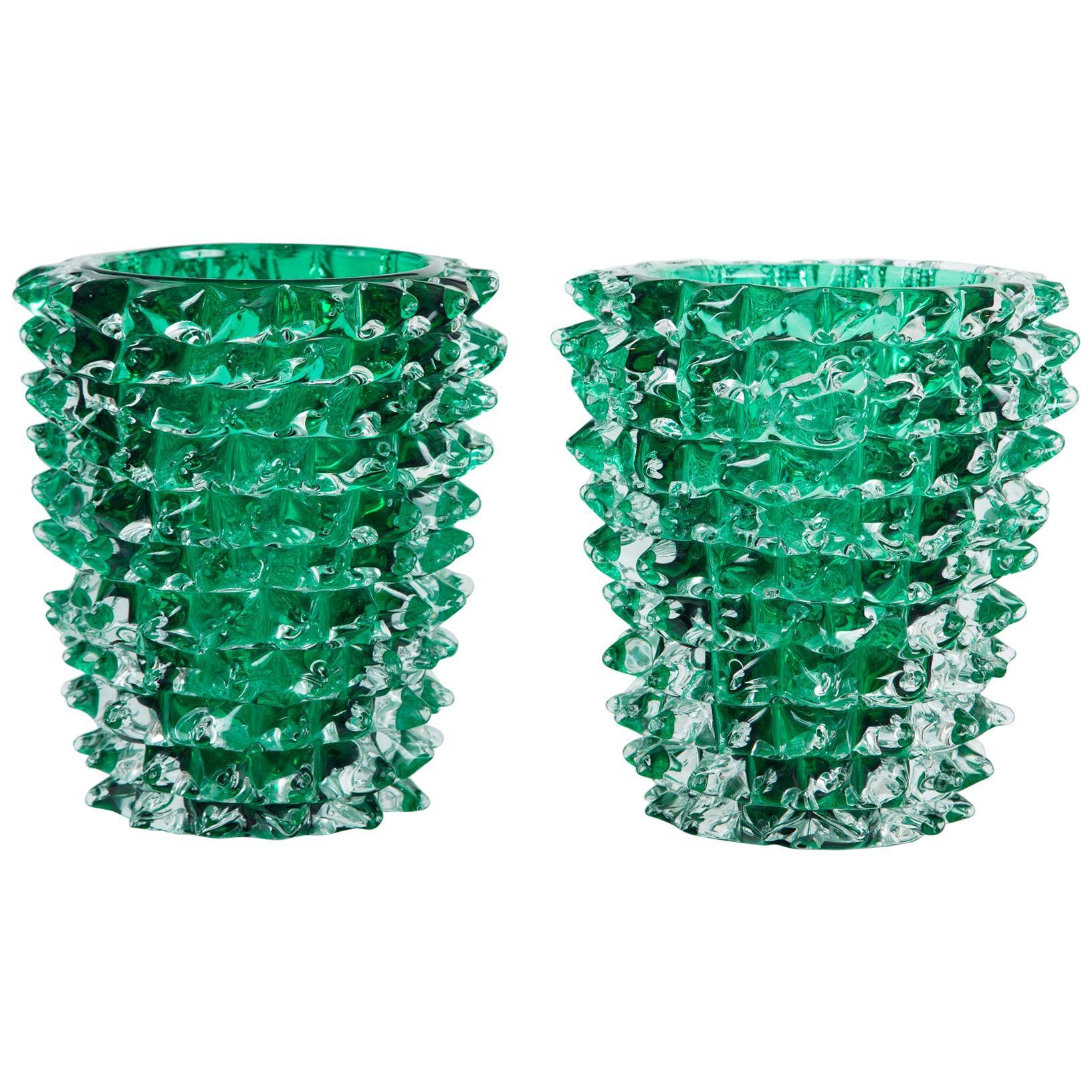 Paolo Crepax Murano Green Glass Vase