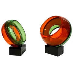 Paolo Crepax Two Italian Green Orange Red Murano Art Glass Abstract Sculptures