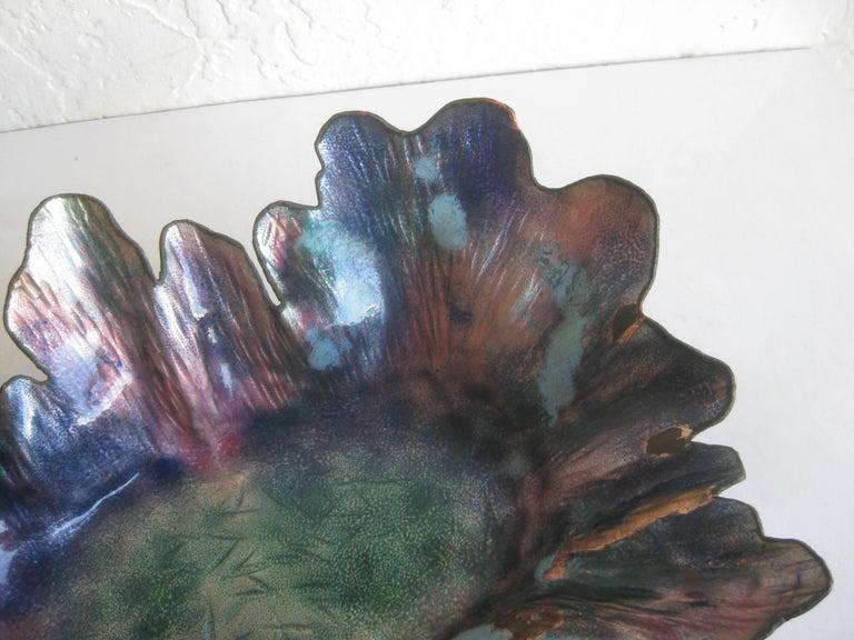 Paolo De Poli Enamel on Copper Monumental Brutalist Bowl Gio Ponti Attributed For Sale 6