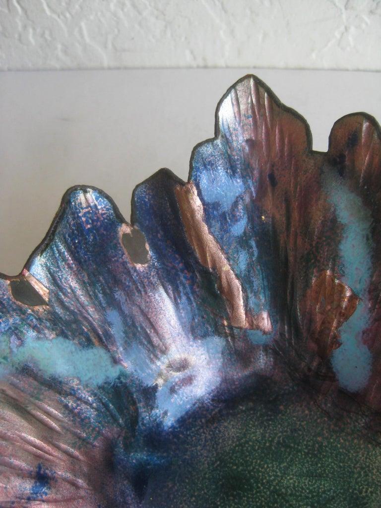 Paolo De Poli Enamel on Copper Monumental Brutalist Bowl Gio Ponti Attributed For Sale 2