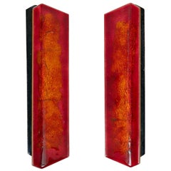 Paolo De Poli Enameled Copper Door Pulls with Brass Hardware, Italy, 1950s