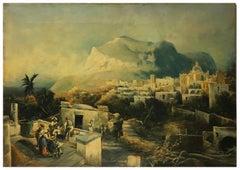CAPRI - Italian landscape oil on canvas painting, Paolo De Robertis