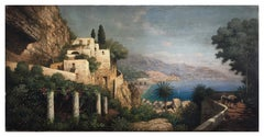 Coast -Paolo De Robertis Italian Landscape Oil on Canvas Painting