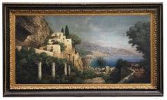 Coast -Paolo De Robertis Italian Landscape Oil on Canvas Painting