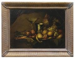 STILL LIFE - In the Manner of Abraham Van Beyeren Italian Oil on Canvas Painting