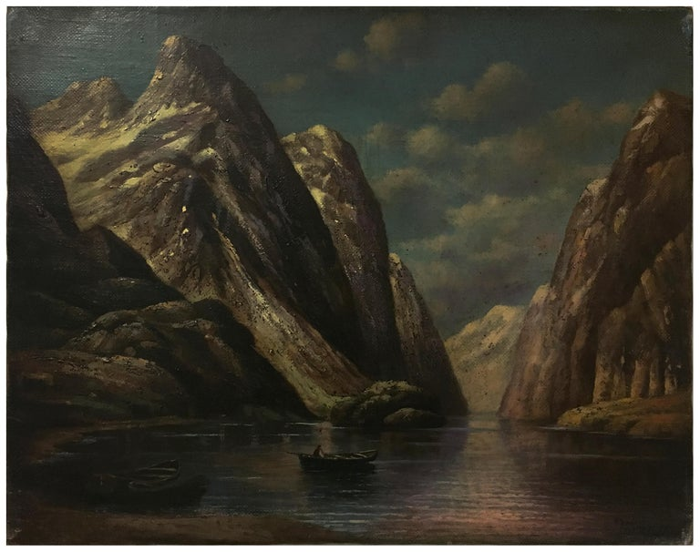 THE LAKE - Italian landscape oil on canvas painting, Paolo De Robertis - Brown Landscape Painting by Paolo De Robertis