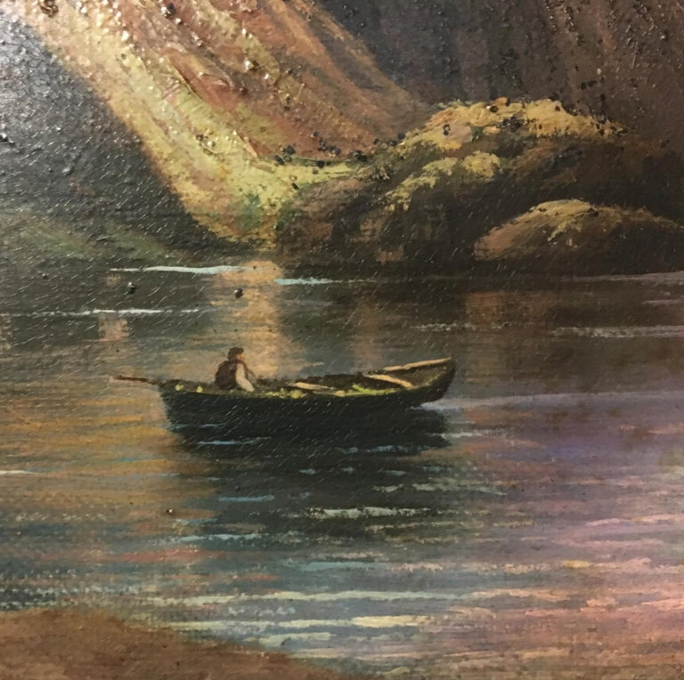 THE LAKE - Italian landscape oil on canvas painting, Paolo De Robertis For Sale 1