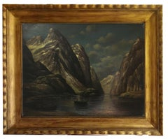 THE LAKE - French School - Italian Landscape Oil on Canvas Painting