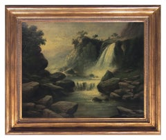 THE WATERFALL - American School -Italian Landscape Oil on Canvas Painting