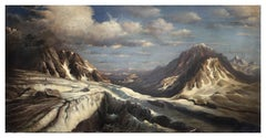 Winter Lamdscape  -Paolo De Robertis Italian Landscape Oil on Canvas Painting