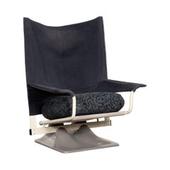 Paolo Deganello 650 Aeo Lounge Chair with Blue Fabric for Cassina, Italy, 1973