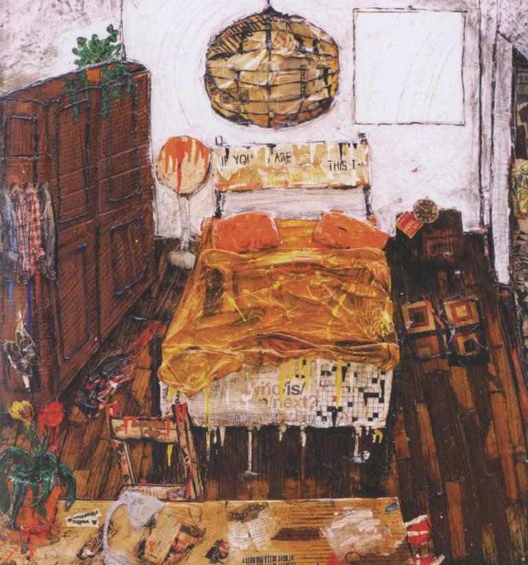 """My bedroom 116 x 107 cm Collage on cardboard, Acrylic and varnish paint  First of all it is Chaos """"a marvelous disorder that tells about life"""" as the artist himself declares. From an intimate attribute of artistic inspiration to a public phenomenon"""