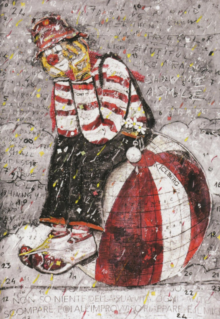 """Who am I. Italian contemporary painting, collage, red and white clown, 2017  Collage on board, 130 x 100 cm  """"I started painting to fill in color the empty nights that suddenly I found myself living and that is how my life recolored with happiness""""."""