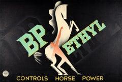 Original Vintage Poster BP Ethyl Controls Horse Power Modernist Art Deco Design