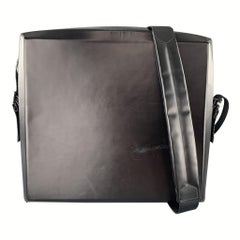 PAOLO IANTORNO Black Structured Leather Messenger Bag