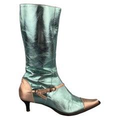 PAOLO IANTORNO Size 6.5 Aqua & Rose Gold Patent Leather Boots