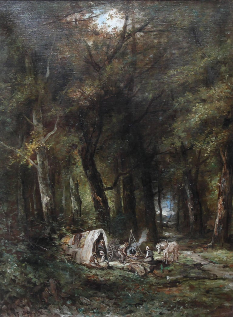 Encampment in a Wooded Landscape- French 19thC art Barbizon School oil painting - Painting by Paolo Manzini