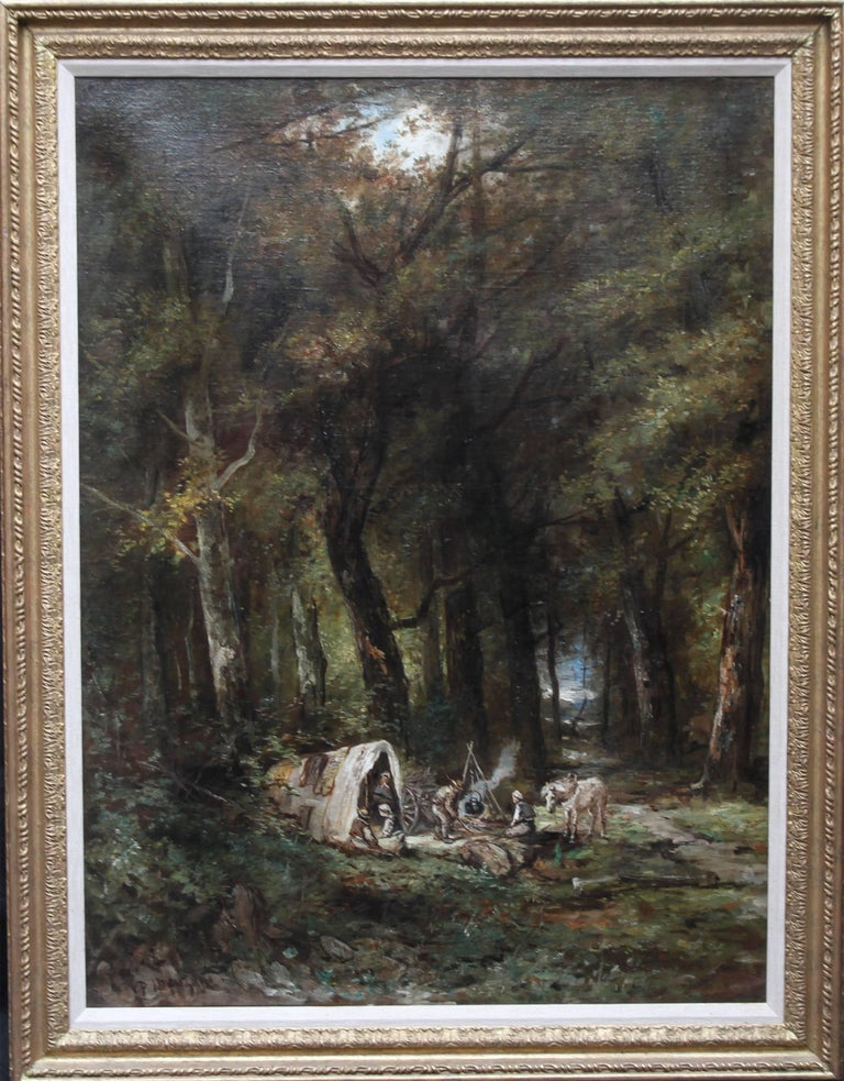 Paolo Manzini Landscape Painting - Encampment in a Wooded Landscape- French 19thC art Barbizon School oil painting