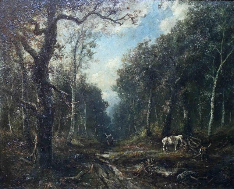 Faggot Gatherers - French 19thC art Barbizon School oil painting wood landscape - Painting by Paolo Manzini