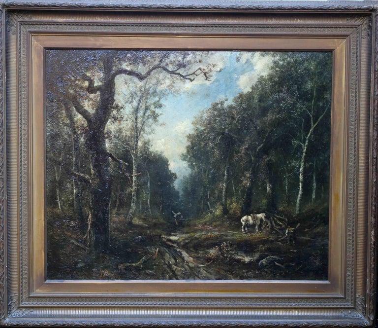 Paolo Manzini Landscape Painting - Faggot Gatherers - French 19thC art Barbizon School oil painting wood landscape
