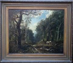 Faggot Gatherers - French 19thC art Barbizon School oil painting wood landscape