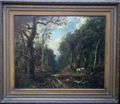 Faggot Gatherers - French 19thC art Barbizon School oil painting wood landscape