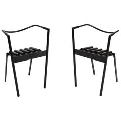 Paolo Pallucco and Mireille Rivier Set of 2 Hans e Alice Steel and Rubber Chairs