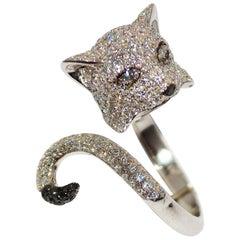 Paolo Piovan Black and White Diamonds 18 Karat White Gold Cat Ring
