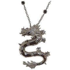 Paolo Piovan Black and White Diamonds 18 Karat White Gold Dragon Necklace