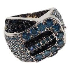 Paolo Piovan Black and Blue Diamonds 18 Karat White Gold Ring