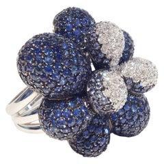 Paolo Piovan Blue Sapphires White Diamonds 18 Karat White Gold Ring