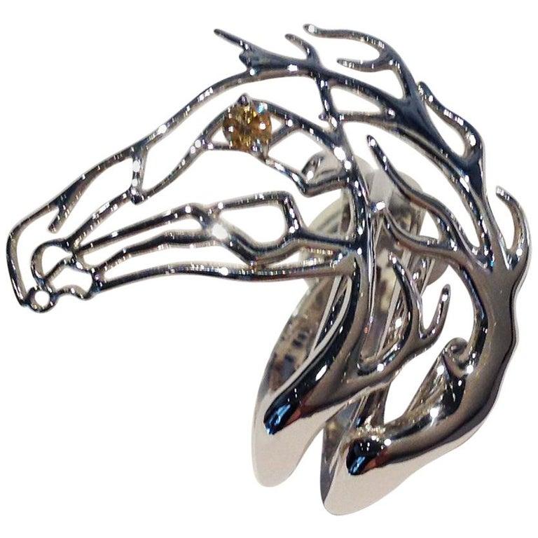 Pferdekopf Ring Aus Weißgold Von Paolo Piovan Mit Braunem Diamanten