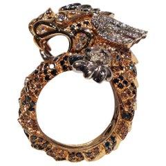 Paolo Piovan Diamonds Brown Diamonds Rubies Pink Gold Dragon Ring