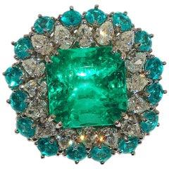 Paolo Piovan Diamonds, Paraiba Tourmalines, Colombia Emerald Cocktail Ring