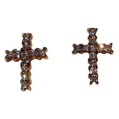 Paolo Piovan Diamonds Cross Shape 18 Karat Rose Gold Earrings