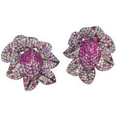 Paolo Piovan Diamonds Rubies Pink Sapphires 18 Karat White Gold Earrings