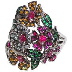 Paolo Piovan Diamonds, Sapphires, Rubies, Tsavorites 18 Karat White Gold Ring