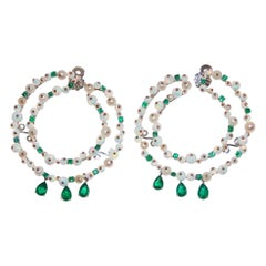 Paolo Piovan Emeralds, Opals and Pearls 18 Karat Gold Hoop Earrings