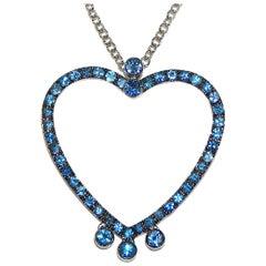Paolo Piovan Light Blue Sapphires 18 Karat White Gold Heart Necklace