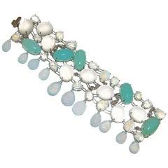 Paolo Piovan Moon Stone Chalcedony Diamonds White Gold Bracelet