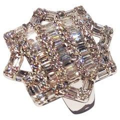 Paolo Piovan Natural White Diamonds Brilliant Baguette Cut Gold Ring